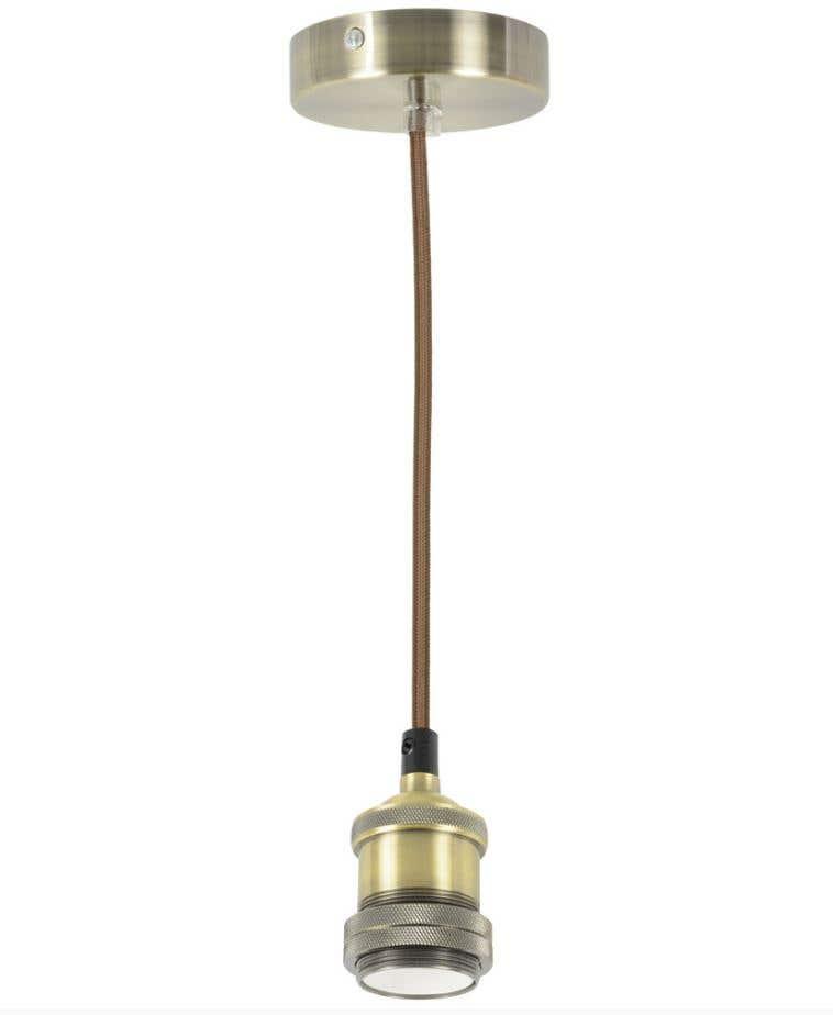 Image of 1.8m Vintage E27 Pendant - Brass/Copper/Gold