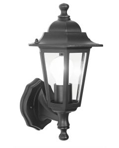 6 sided black wall lantern - S5895