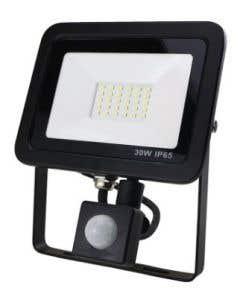 30w LED Floodlight Black PIR