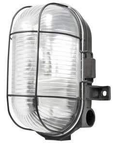 Oval 60w Black Caged Bulkhead - S5879