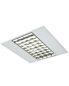 600mm x 600mm Recessed Modular 4x14w T5 Fluorescent Tube Fitting c/w Infill Louvre