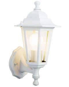 6 sided white wall lantern - S5896