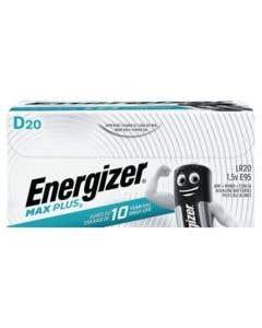 Energizer D Cell Max Plus 1.5v Alkaline Batteries - Pack of 20