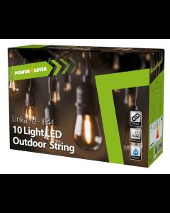 10x 2w 2700k LED Filament IP44 9m Festoon String