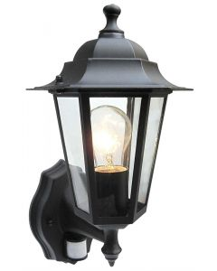 Outdoor 6 Sided Black Wall Lantern c/w PIR Motion Sensor - S5902 s5902