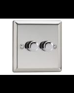 Varilight V-Pro 2 Gang, 2 Way LED Dimming Switch - Chrome