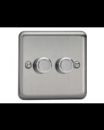Varilight V-Pro 2 Gang, 2 Way LED Dimming Switch - Brushed Steel