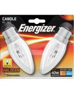 Energizer 33w Halogen Candle B22 - Twin Pack