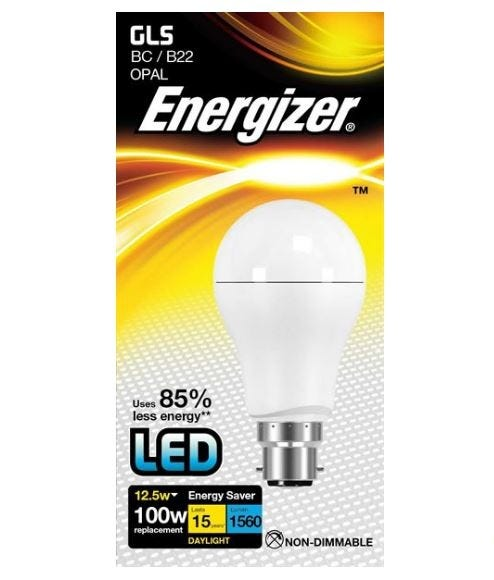 Image of 12.5w Energizer LED GLS 6500k B22 - S9427