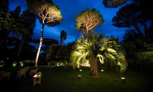white garden spotlights